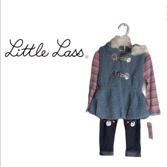 Baby Girl Little Lass Vest, Top & Leggings Set